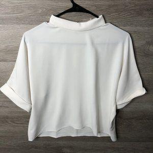 Uniqlo XS Drape Mock Neck Half Sleeve Blouse White